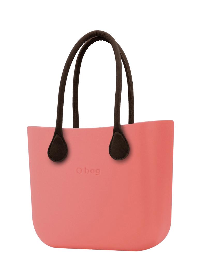 O bag  torebka MINI Corallo z długimi brązowymi uchwytami ze skajki