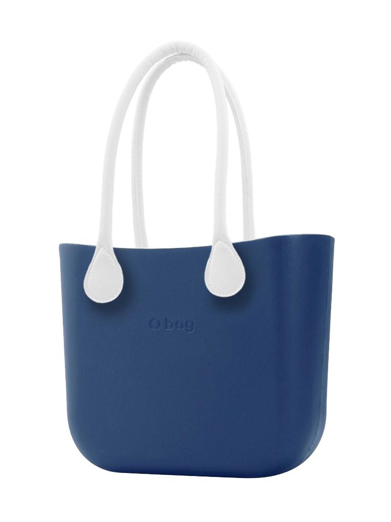 O bag  niebieski MINI torebka Bluette z długimi białymi uchwytami ze skajki