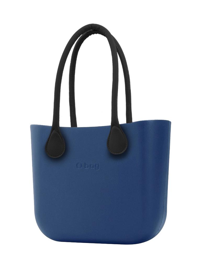 O bag  niebieski torebka MINI Bluette z długimi czarnymi uchwytami ze skajki