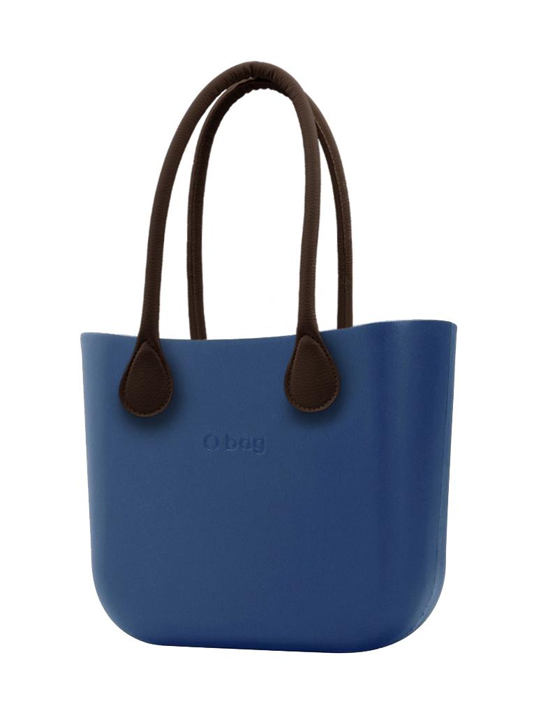 O bag  niebieski MINI torebka Bluette z długimi brązowymi uchwytami ze skajki