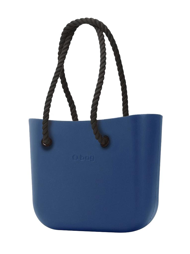 O bag  niebieski torebka MINI Bluette z długimi czarnymi linami