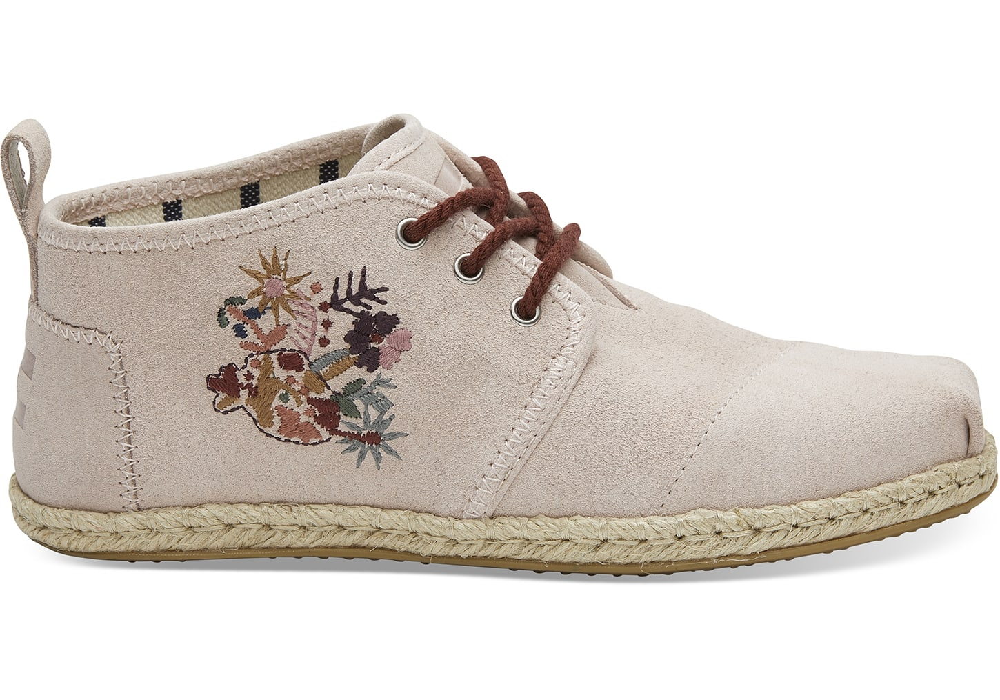 Toms pudrowe skórzane trampki do kostek Boty Floral Embroidery Leather Rope Sole