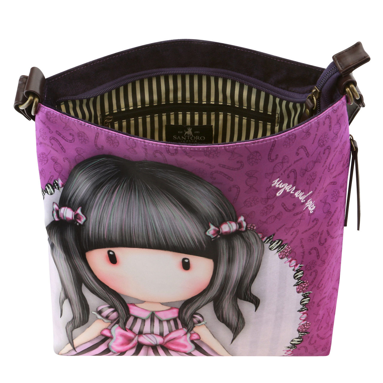 Santoro fioletowa crossbody torebka Gorjuss Sugar and Spice