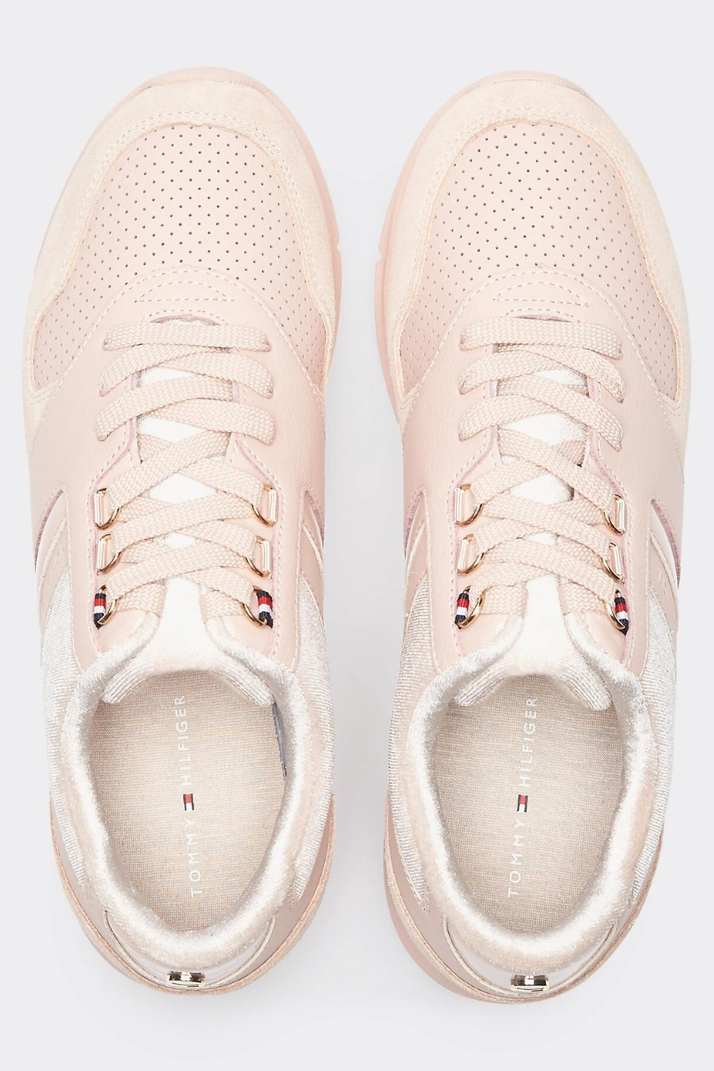 Tommy Hilfiger pudrowe trampki skórzane Velvet Lace Light Weight Sneaker Cameo Rose