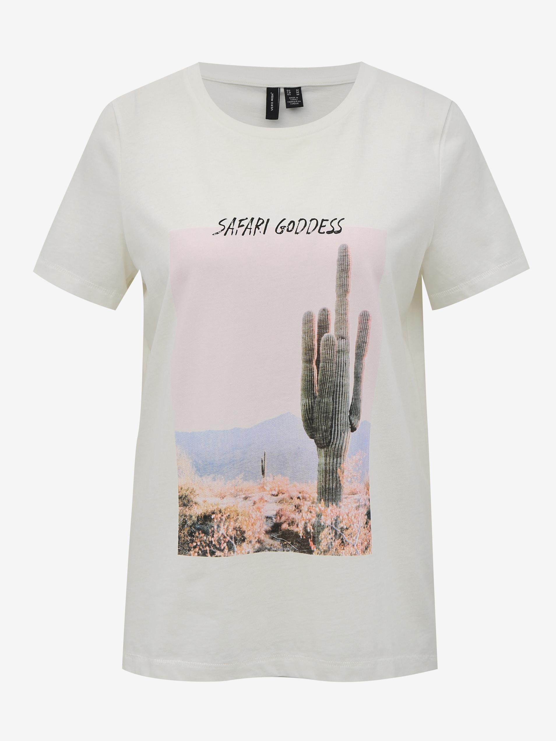 Biała koszulka z nadrukiem VERO MODA Desert