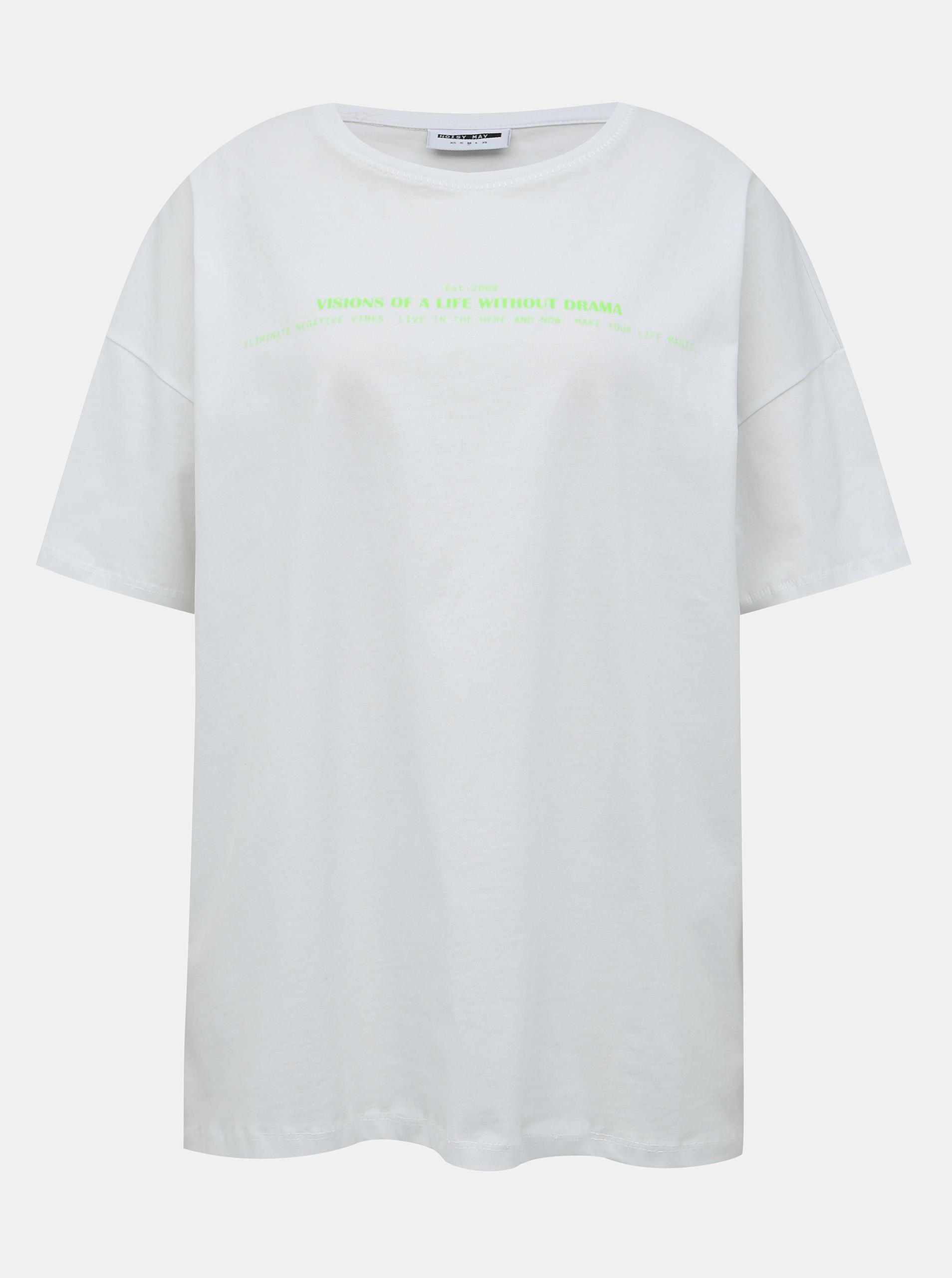 Biała oversizeowa koszulka z nadrukiem Noisy May Ida