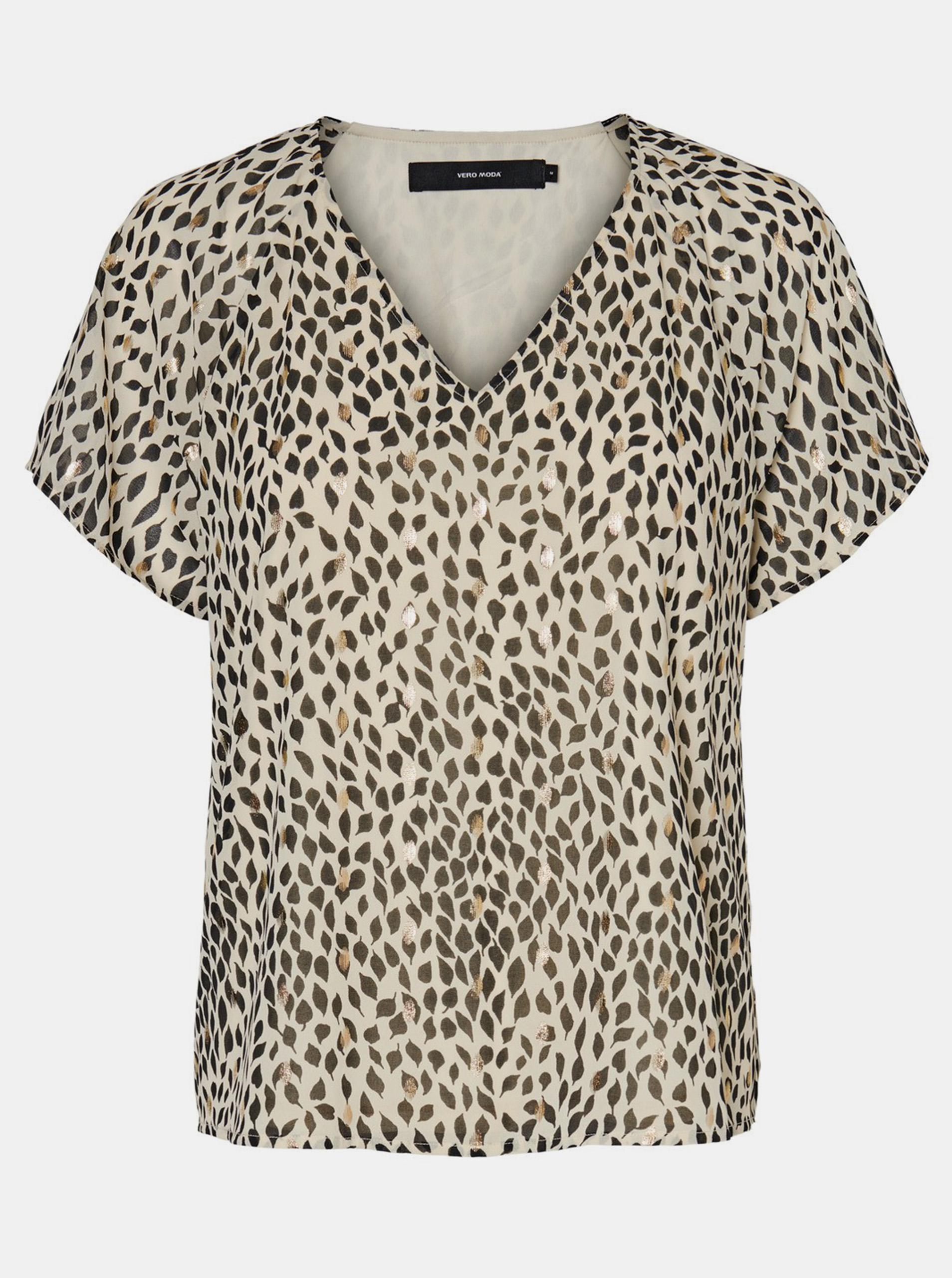 Vero Moda beżowa koszulka Penny ze wzorami