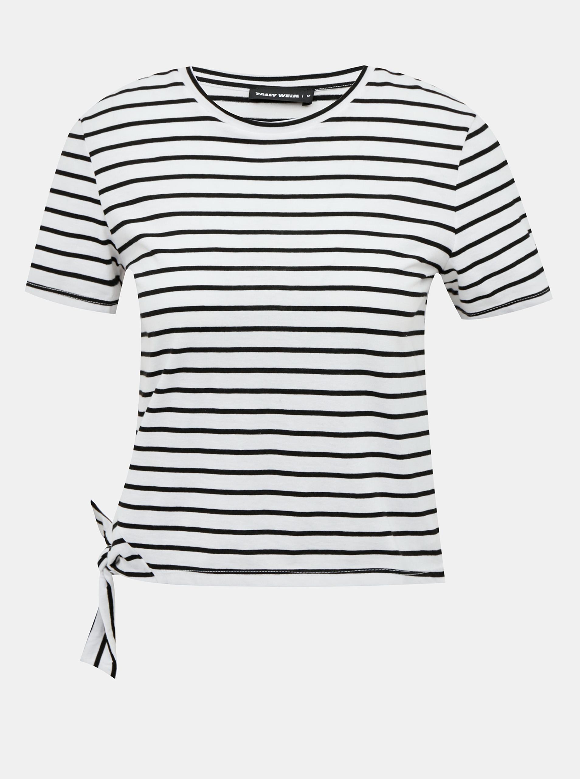 Krótka koszulka TALLY WEiJL w czarno-białe paski