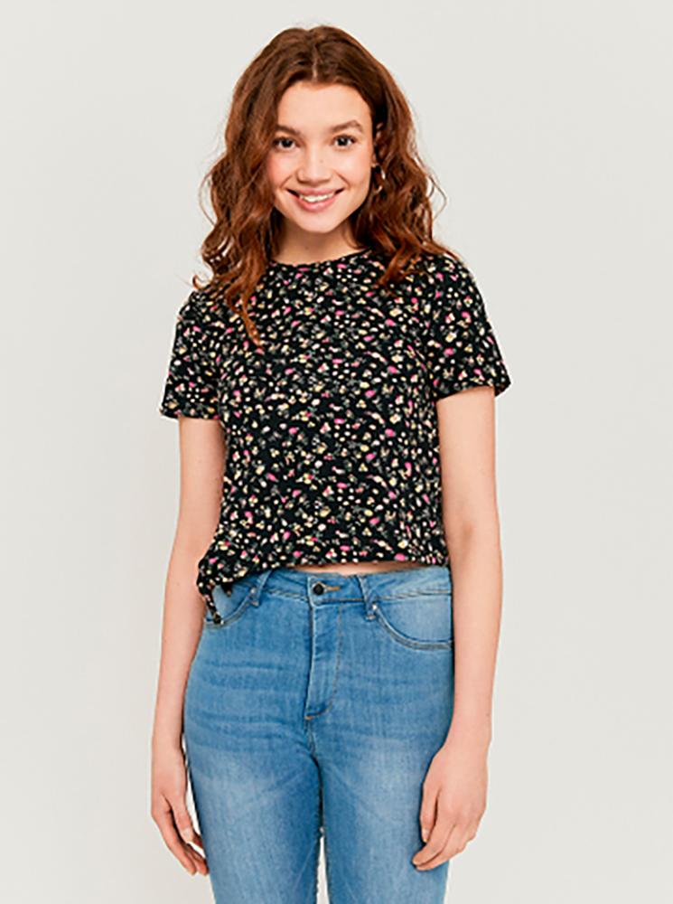 Czarna, krótka koszulka TALLY WEiJL w kwiaty