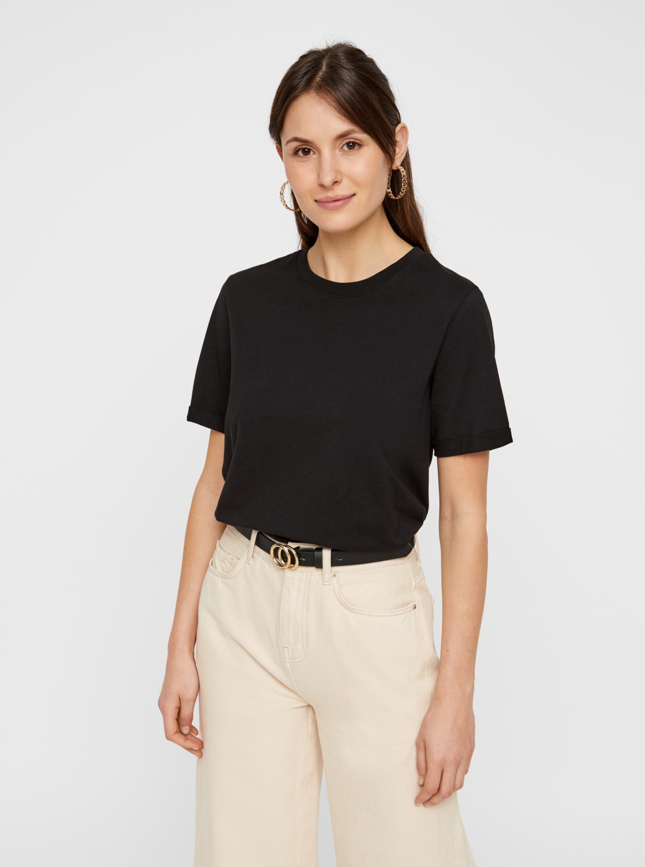 Czarna podstawowa koszulka Pieces Ria