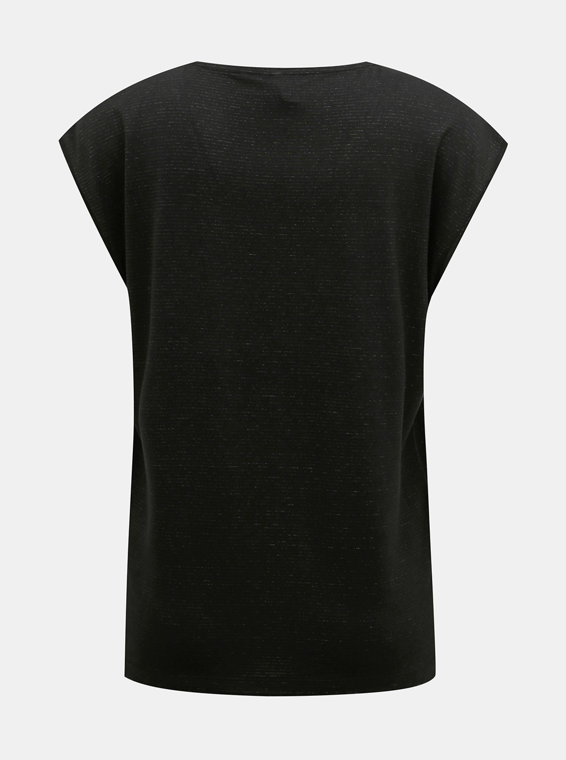 Czarna koszulka z metalicznymi włóknami Kawałki