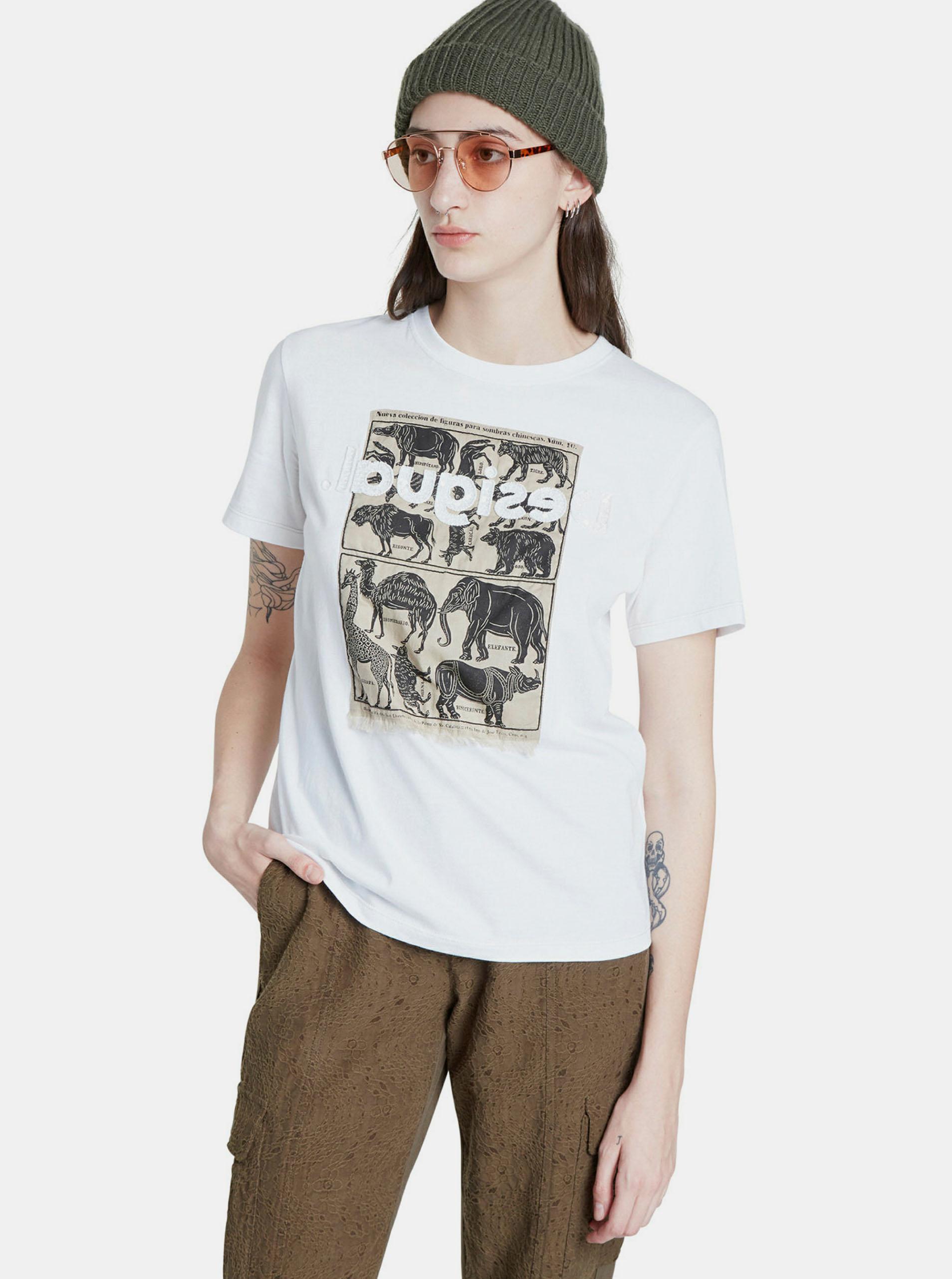 Biała koszulka z nadrukiem Desigual
