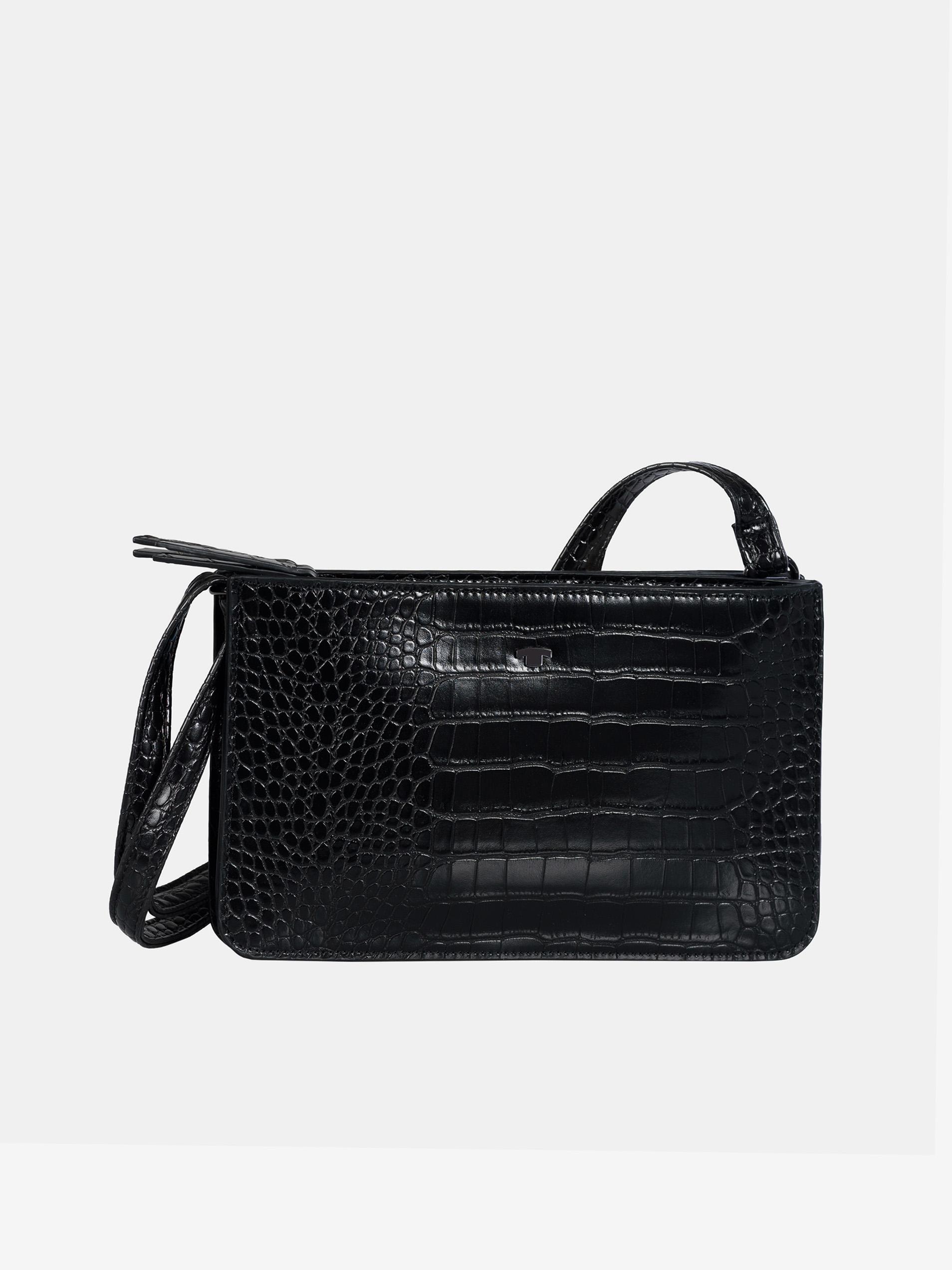 Czarna torebka typu crossbody z wzorem krokodyla od Tom Tailor