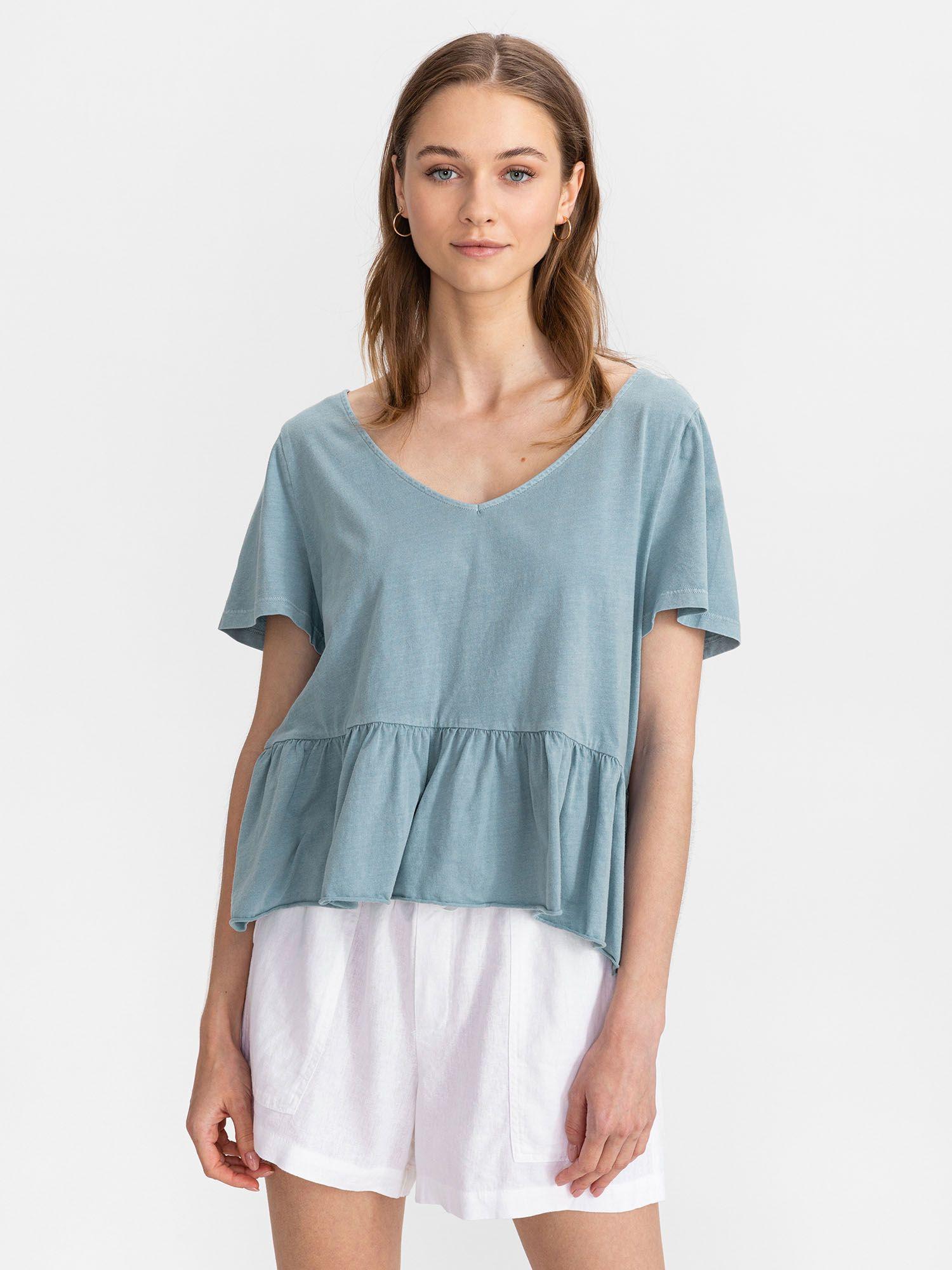 GAP niebieski koszulka Vintage Peplum